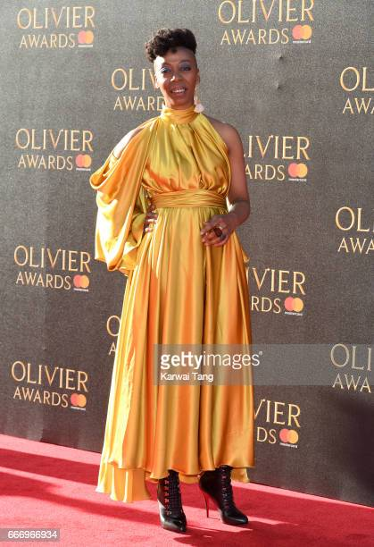 Noma Dumezweni arrives for The Olivier Awards 2017 at the Royal Albert Hall on April 9 2017 in London England