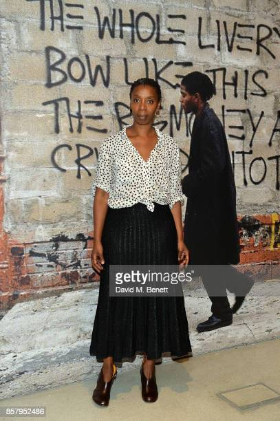 Noma Dumezweni attends a private view of the Basquiat exhibition cohosted by NETAPORTER in partnership with Frieze at Barbican Centre on October 5...