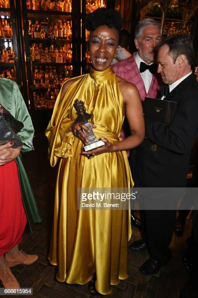 Noma Dumezweni attends The Olivier Awards 2017 after party at Rosewood London on April 9 2017 in London England