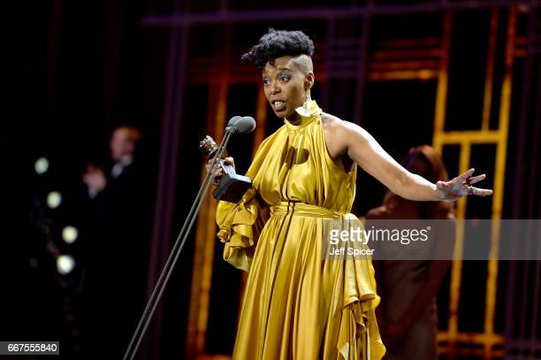Noma Dumezweni wins the Best Actress in a Supporting Role for 'Harry Potter And The Cursed Child' on stage during The Olivier Awards 2017 at Royal...