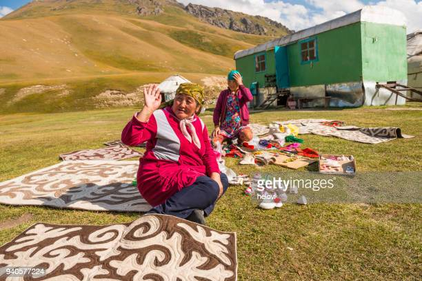 nomad people at lake kol-ukok - kyrgyzstan stock photos and pictures