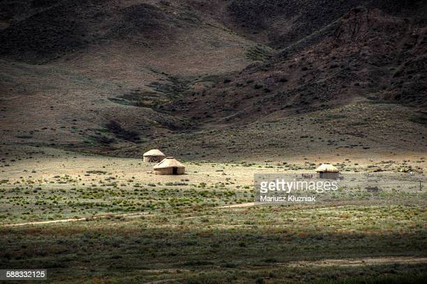 Nomad Yurts in central Kazakhstan steppe