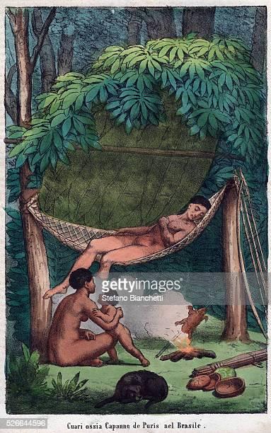 Nomadic Puri family relaxing in a hut Amazon Brazil engraving from 'Usi e Costumi di Tutti i Popoli dell'Universo Ovvero Storia del governo delle...