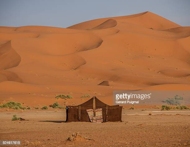 a nomadic tent in the middle of the desert - dunes arena stock pictures, royalty-free photos & images