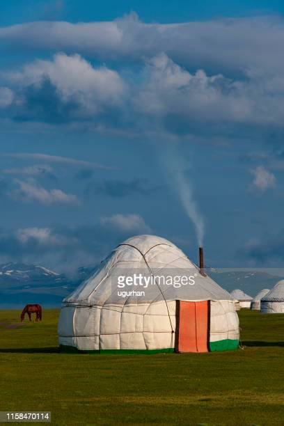 nomadic tents known as yurt at the song kol lake, kyrgyzstan - kyrgyzstan stock pictures, royalty-free photos & images