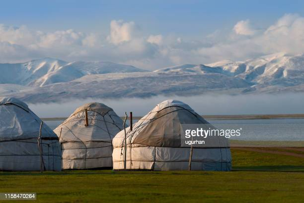 nomadic tents known as yurt at the song kol lake, kyrgyzstan - yurt stock pictures, royalty-free photos & images