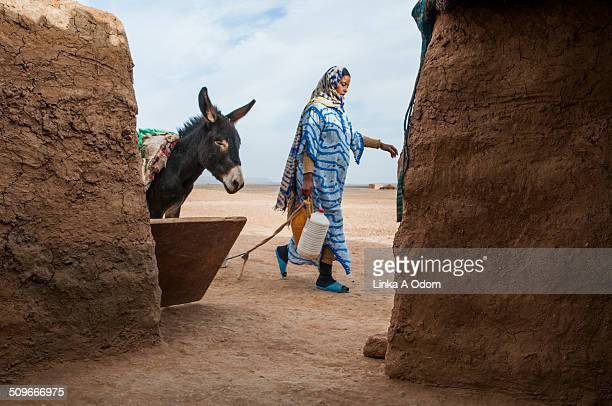 A nomadic woman and donkey walking in the desert.