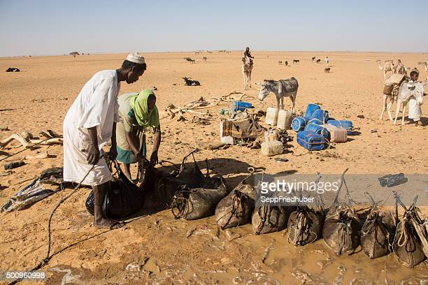Nomads filling water at a deep  fountain  Sudan