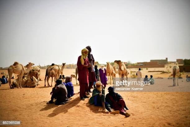 Nomads gather during a weekly cattle market on the outskirts of Gao on March 7 2017 in Gao Mali The soldiers of the Bundeswehr try to gather...