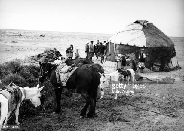 Nomad's yurt at the Kysyslkoom desert in Uzbekistan Soviet Union 1970s