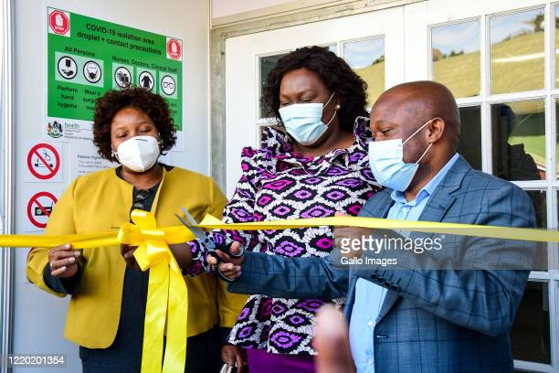Nomagugu Simelane-Zulu, KZN MEC for Health cuts the ribbon with Sihle Zikalala, KwaZulu-Natal Premier during the official opening and hand over of...
