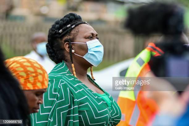 Nomagugu Simelane-Zulu, KZN MEC for Health during the handing over sanitisers, masks and sanitary packs in the Umlazi township on April 09, 2020 in...