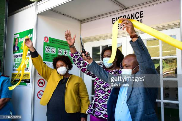 Nomagugu Simelane-Zulu, KZN MEC for Health with Sihle Zikalala, KwaZulu-Natal Premier cutting the ribbon during the official opening and hand over of...