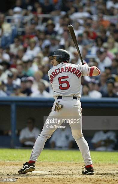 Nomar Garciaparra of the Boston Red Sox bats against the of the New York Yankees during the game at Yankee Stadium on September 7 2003 in the Bronx...