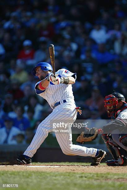 Nomar Garciaparra of the Chicago Cubs bats during the game against the Atlanta Braves at Wrigley Field on October 3 2004 in Chicago Illinois The Cubs...