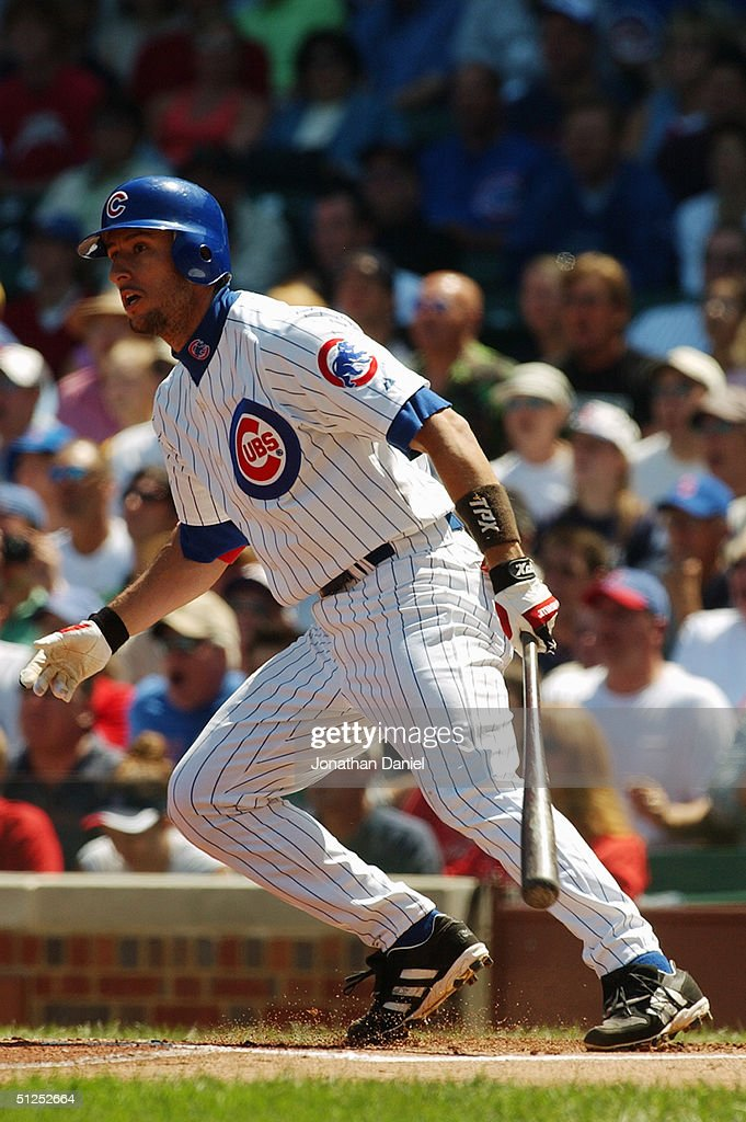 Nomar Garciaparra #5 of the Chicago Cubs moves for first base during a game against the Los Angeles Dodgers on August 15, 2004 at Wrigley Field in Chicago, Illinois. The Dodgers defeated the Cubs 8-5.
