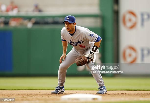 Nomar Garciaparra of the Los Angeles Dodgers in the field against the Pittsburgh Pirates on June 3, 2007 at PNC Park in Pittsburgh, Pennsylvania. The...