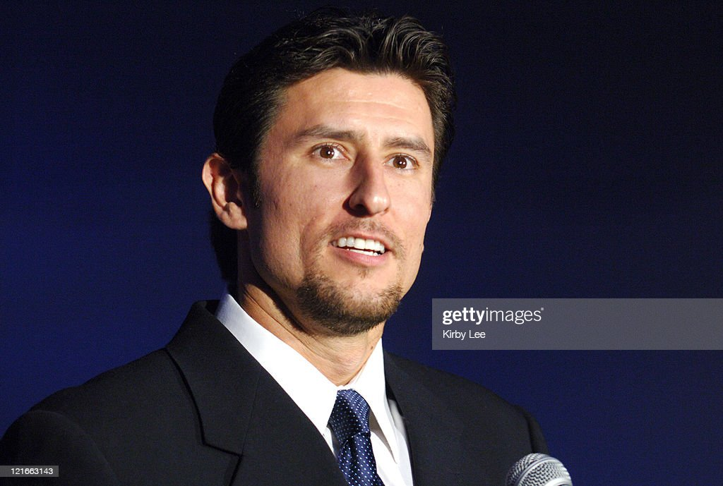 Nomar Garciaparra speaks at Los Angeles Dodger press conference to announce his signing to a one-year contract at Dodger Stadium in Los Angeles, Calif. on Monday, December 19, 2005.