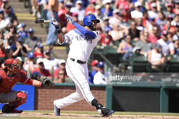 Nomar Mazara of the Texas Rangers bats against the Los Angeles Angels of Anaheim at Globe Life Park in Arlington on May 1 2016 in Arlington Texas The...