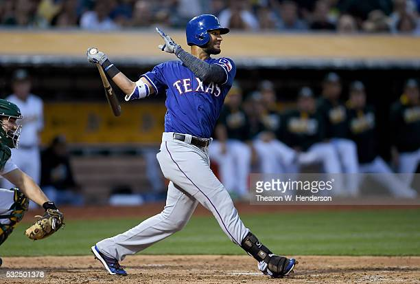Nomar Mazara of the Texas Rangers bats against the Oakland Athletics in the top of the fifth inning at Oco Coliseum on May 17 2016 in Oakland...