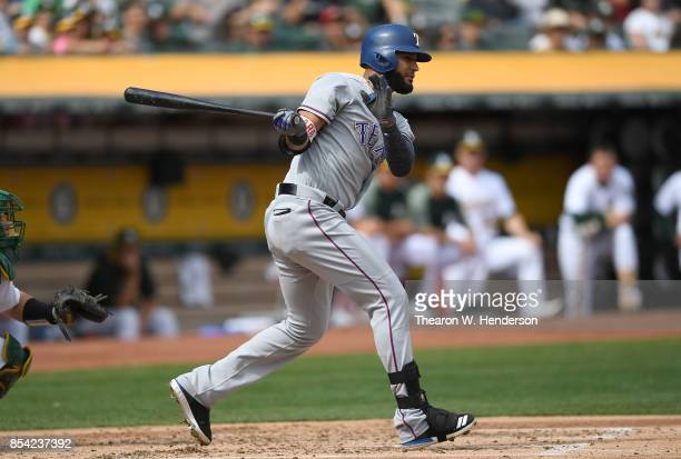 Nomar Mazara of the Texas Rangers bats against the Oakland Athletics in the top of the second inning at Oakland Alameda Coliseum on September 24 2017...