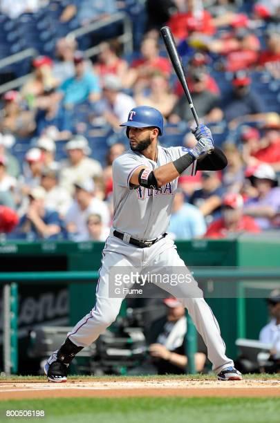 Nomar Mazara of the Texas Rangers bats against the Washington Nationals at Nationals Park on June 11 2017 in Washington DC