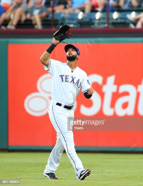 Nomar Mazara of the Texas Rangers fields a fly ball in the third inning against the Baltimore Orioles at Globe Life Park in Arlington on July 28 2017...