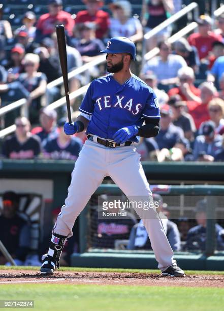 Nomar Mazara of the Texas Rangers gets ready in the batters box during a spring training game against the Cleveland Indians at Goodyear Ballpark on...