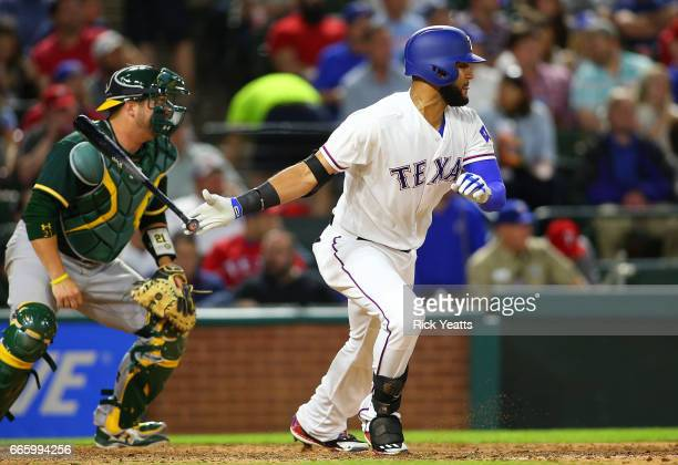 Nomar Mazara of the Texas Rangers hit hi sixth RBI in the sixth inning against the Oakland Athletics at Globe Life Park in Arlington on April 7 2017...