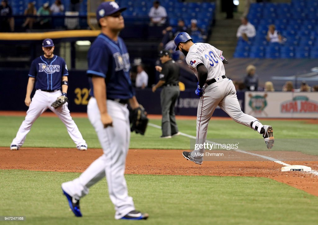Nomar Mazara #30 of the Texas Rangers hits a a three run home run in the eighth inning off Chih-Wei Hu #58 of the Tampa Bay Rays during a game against the Tampa Bay Rays at Tropicana Field on April 16, 2018 in St Petersburg, Florida.