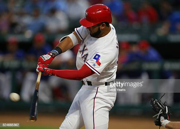 Nomar Mazara of the Texas Rangers hits a single to left field in the first inning against New York Yankees at Global Life Park in Arlington on April...