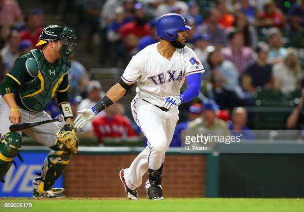 Nomar Mazara of the Texas Rangers hits in the eight inning against the Oakland Athletics at Globe Life Park in Arlington on April 7 2017 in Arlington...