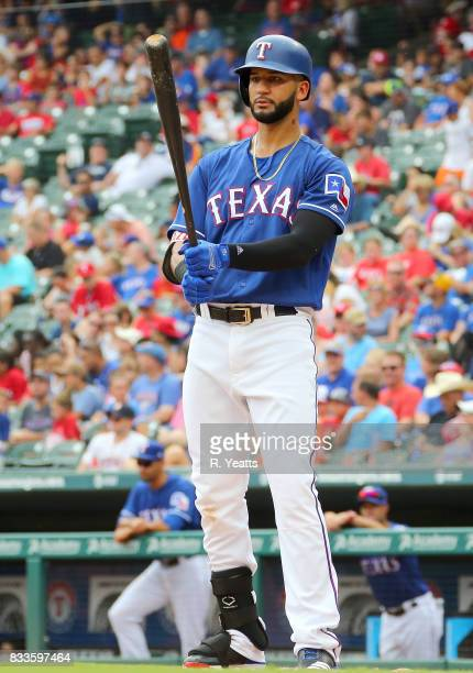 Nomar Mazara of the Texas Rangers hits in the eight inning against the Houston Astros at Globe Life Park in Arlington on August 13 2017 in Arlington...