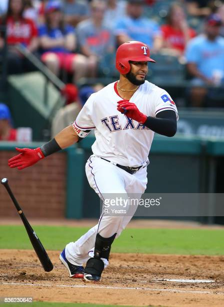 Nomar Mazara of the Texas Rangers hits in the first inning against the Chicago White Sox at Globe Life Park in Arlington on August 19 2017 in...