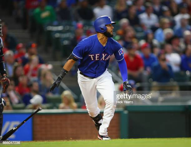 Nomar Mazara of the Texas Rangers hits in the fourth inning against the Cleveland Indians at Globe Life Park in Arlington on April 5 2017 in...