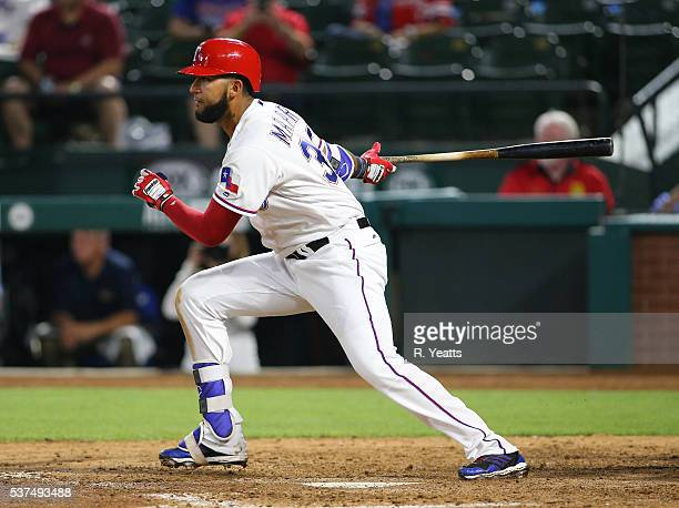 Nomar Mazara of the Texas Rangers hits in the sixth inning against New York Yankees at Global Life Park in Arlington on April 26 2015 in Arlington...
