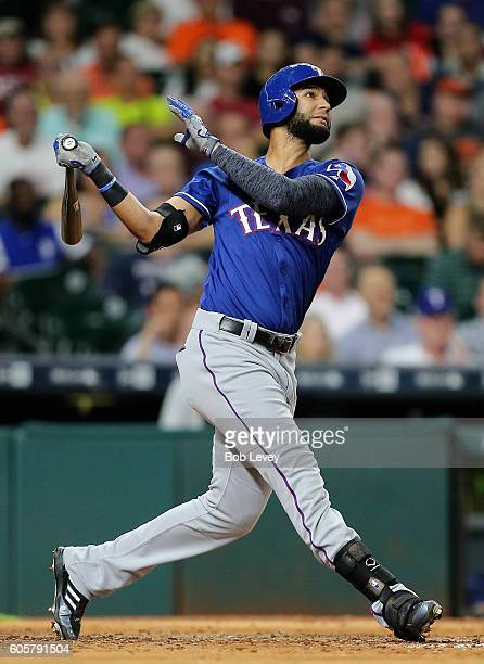 Nomar Mazara of the Texas Rangers hitsa two run home run in the seventh inning against the Houston Astros at Minute Maid Park on September 14 2016 in...