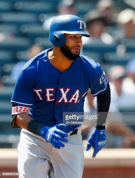 Nomar Mazara of the Texas Rangers in action against the New York Mets at Citi Field on August 9 2017 in the Flushing neighborhood of the Queens...