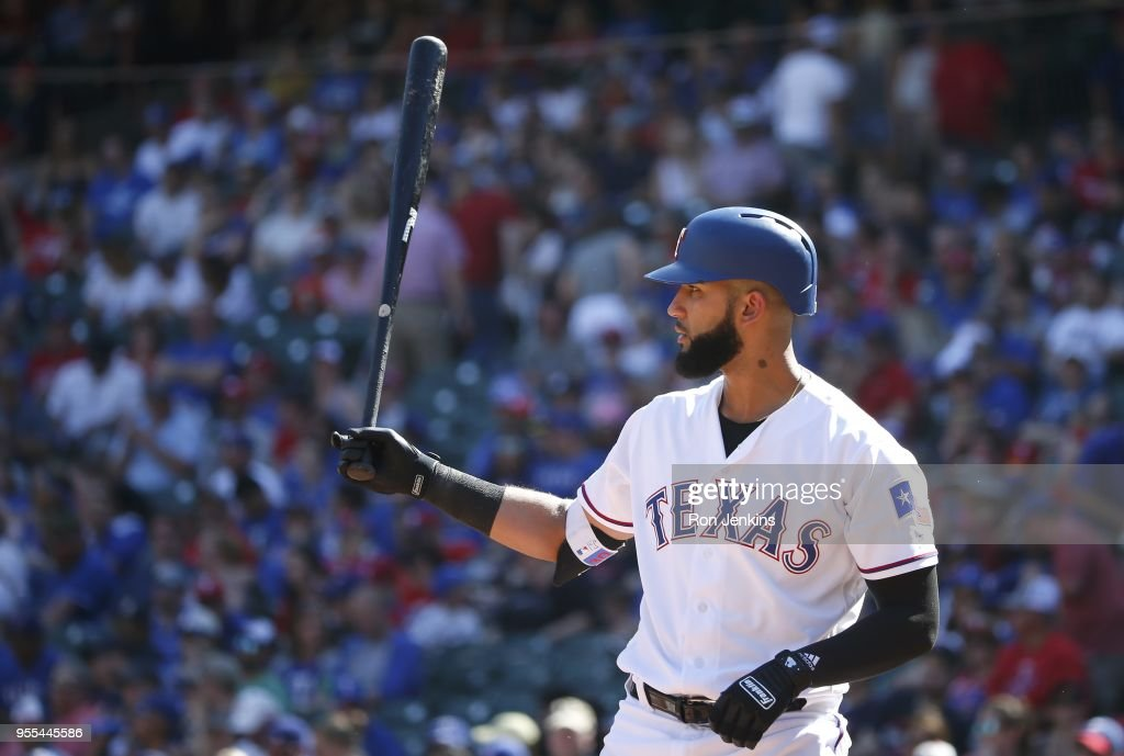 Nomar Mazara #30 of the Texas Rangers prepare to bat against the Boston Red Sox during the eighth inning at Globe Life Park in Arlington on May 6, 2018 in Arlington, Texas. The Red Sox won 6-1.