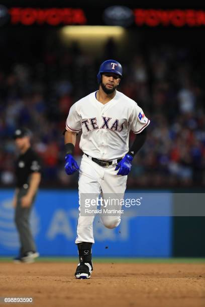 Nomar Mazara of the Texas Rangers runs after hitting a homerun against the Toronto Blue Jays in the fifth inning at Globe Life Park in Arlington on...