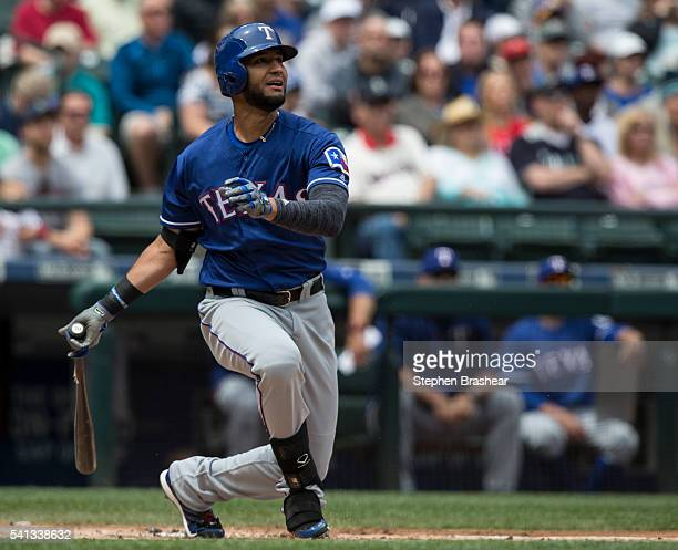 Nomar Mazara of the Texas Rangers takes a swing during an atbat in a game against the Seattle Mariners at Safeco Field on June 12 2016 in Seattle...