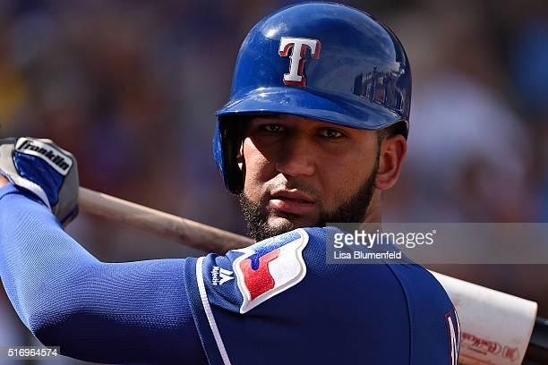 Nomar Mazara of the Texas Rangers waits on deck against the Kansas City Royals at Surprise Stadium on March 3 2016 in Surprise Arizona