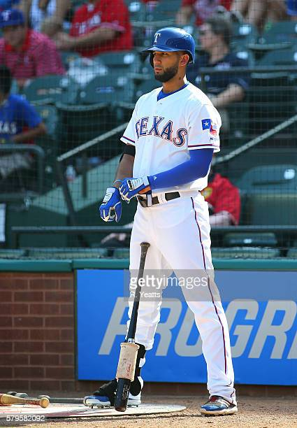 Nomar Mazara of the Texas Rangers waits to hit in the ninth inning against the Minnesota Twins at Globe Life Park in Arlington on July 10 2016 in...