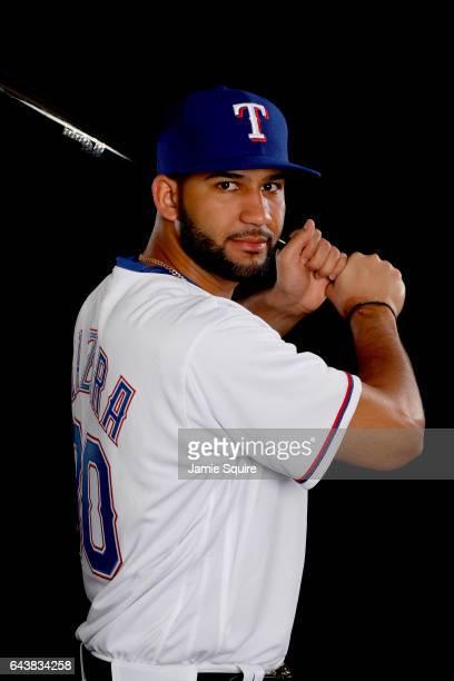 Nomar Mazara poses on Texas Rangers Photo Day during Spring Training on February 22 2017 in Surprise Arizona