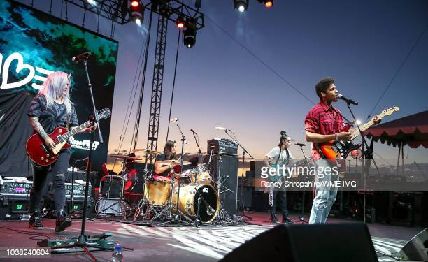 Noah McBeth of the musical group NoMBe and guests during BaseFEST Powered by USAA on September 22 2018 at Marine Corps Air Ground Combat Center...