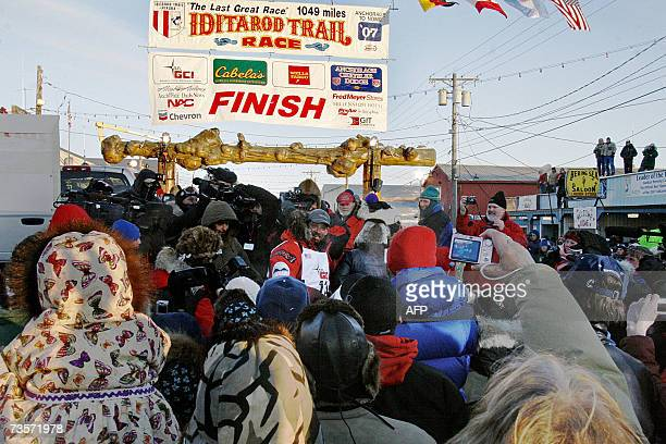 Lance Mackey is mobbed by media and fans upon his arrival in Nome as the winner of 2007 Iditarod Sled dog race in Nome Alaska 13 March 2007 Mackey a...