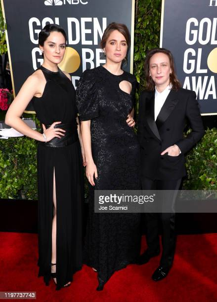 Noémie Merlant, Adèle Haenel and Céline Sciamma attend the 77th Annual Golden Globe Awards at The Beverly Hilton Hotel on January 05, 2020 in Beverly...