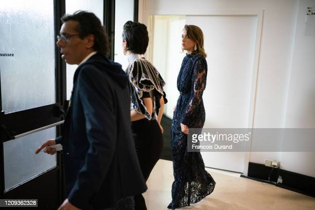Noémie Merlant and Adèle Haenel leave the Salle Pleyel after the award for best director was given to Roman Polanski During the Cesar Film Awards...