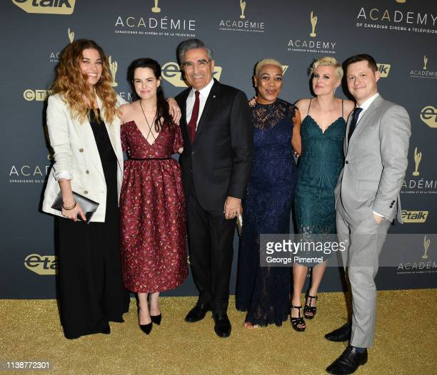 Nominated For Best Comedy Series Cast of Schitt's Creek Annie Murphy Emily Hampshire Eugene Levy Karen Robinson Jennifer Robertson and Noah Reid...