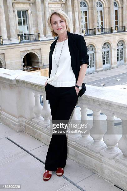 Nominated for Moliere de la Comedienne dans un spectacle de Theatre Prive with On ne se mentira jamais Fanny Cottencon attends the Reception in honor...